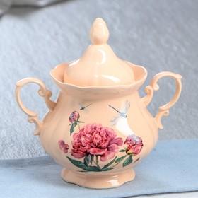 """Сахарница """"Камелия"""" персик, цветы, 0,5 л, микс"""