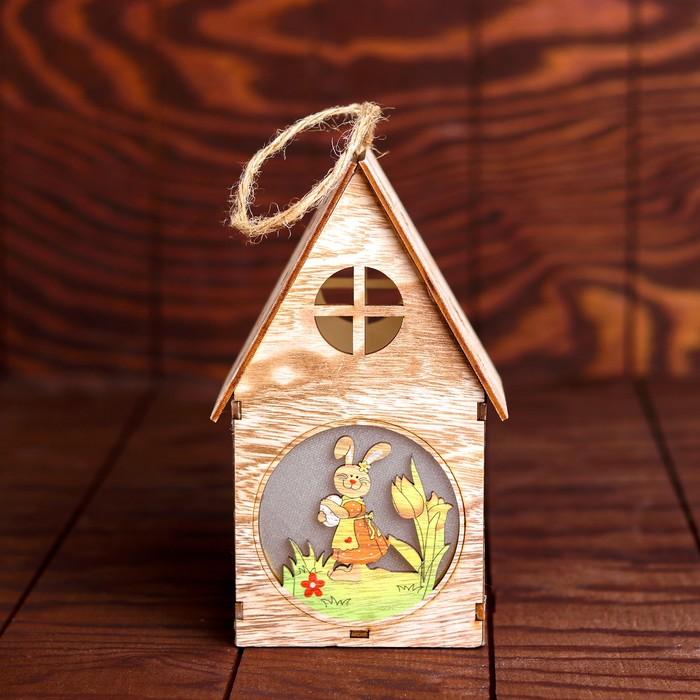 Декор с подсветкой «Зайка с яйцом, в цветах» 10×11×20,5 см - фото 798484250