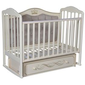 Кроватка «Кедр» Helen-7, мягкая спинка, ящик, цвет слоновая кость