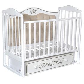 Кроватка «Кедр» Helen-7, мягкая спинка, ящик, цвет белый