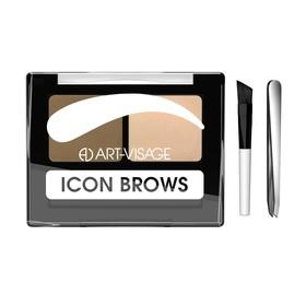 Тени для бровей Art-Visage Icon Brows, с кисточкой и пинцетом, тон 421