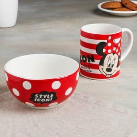 Набор посуды детский Disney «Минни», 2 предмета: кружка 200 мл, миска 300 мл