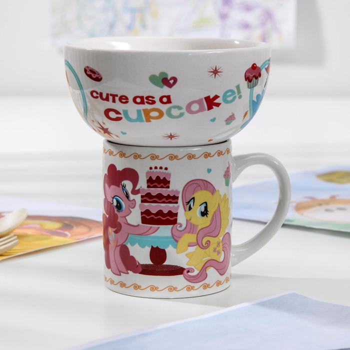 Набор посуды детский Hasbro My Little Pony, 2 предмета: кружка 200 мл, миска 300 мл - фото 488936