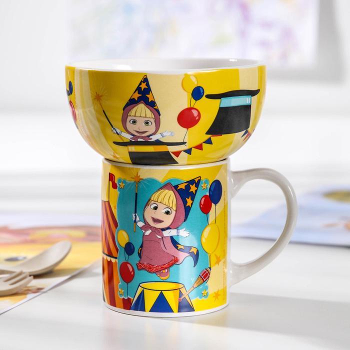 Набор посуды детский «Маша и медведь. Цирк», 2 предмета: кружка 200 мл, миска 300 мл - фото 488948
