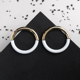 """Metal earrings """"Loft"""" ring color white-Golden"""