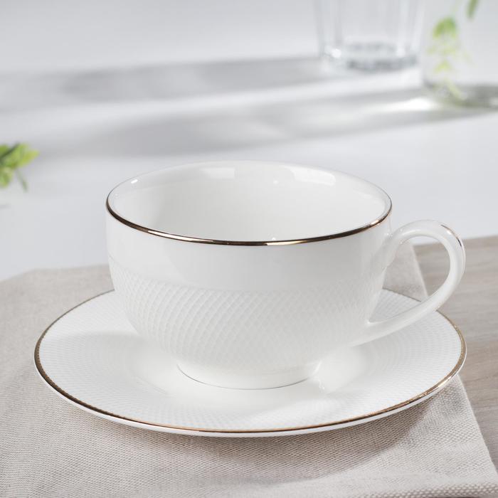 Чайная пара «Маретта», чашка 230 мл, 12×9,3×5,6 см, блюдце 14,8×1,3 см - фото 798485353