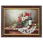 """H275-30x40 Painting of the tapestry """"the Wine and fruit on an openwork napkin"""" (35x45)"""