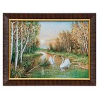"""M009-30x40 Painting of the tapestry """"Swans in autumn forest"""" (35x45)"""