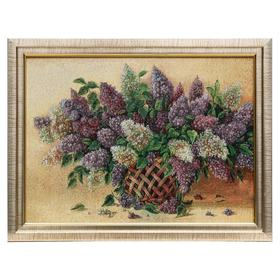 """M019-30х40 Картина из гобелена """"Сирень в плетеной вазе""""(35х45)"""