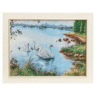 """M056-30x40 Painting of the tapestry """"the Swan family in the pond"""" (35x45)"""