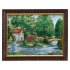 """M057-30x40 Painting of the tapestry """"cottage by the lake with stone bridge"""" (35x45)"""