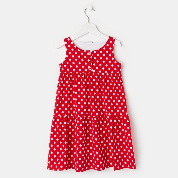 Платье «Юленька», цвет красный, рост 98 см - фото 798486113
