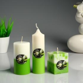 """Набор свечей ароматических """"Жасмин- Зелёный чай"""" 3 шт"""