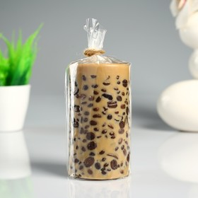 """Свеча- цилиндр """"Espresso"""" коричневая, с зернами кофе, 6×10 см"""