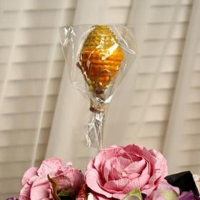 """Свеча из вощины """"Яйцо"""" на палочке, медово- жёлтая, с декором"""