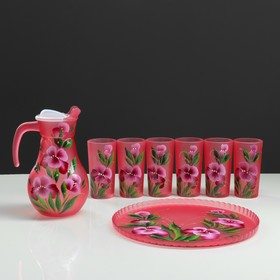 A set for juice with tray iris art painting, 6 cups 1250/200 ml, red