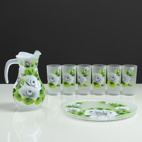 """A set for juice with tray """"Roses"""" art painting, 6 cups 1250/200 ml, white mats"""