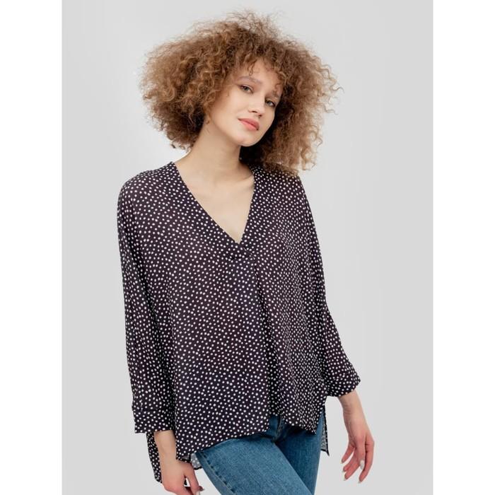 Блуза женская, цвет черный/белые квадраты, размер 46 (M) - фото 798486444