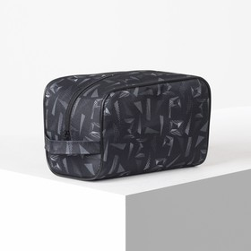 "Cosmetic bag road Bag 22,5*13*13 print, pocket, lining, ""Triangles on black"""