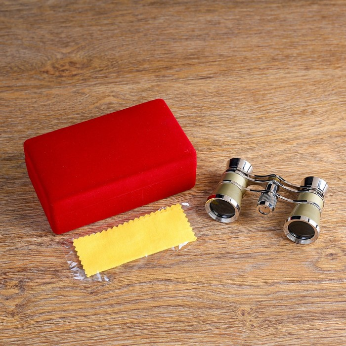Бинокль театральный 3х25, хромированный, цвет бежевый, упаковка микс