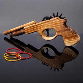 """Деревянная игрушка """"Пистолет, стреляет резиночками"""" 2,3х22х11,5 см"""