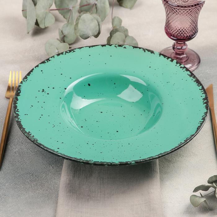 Тарелка для пасты Smeraldo, 500 мл, d=29,5 см, цвет бирюзовый - фото 798487034