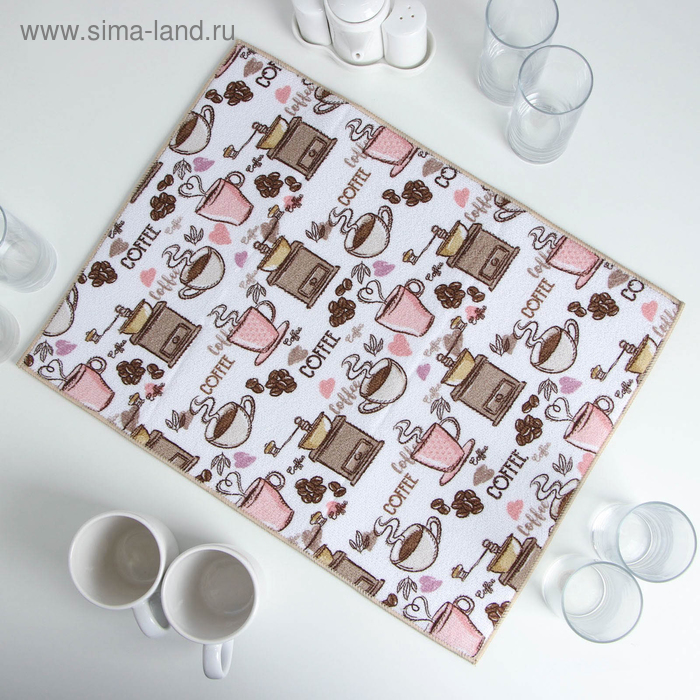 Mat for drying dishes 38х51 cm, microfiber Coffee