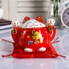 "Piggy Bank ceramic ""cat maneki neko red with bells"" 10,5х13,5x9 cm"
