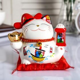"Копилка керамика ""Кот манэки-нэко со слитком и колокольчиком"" 12х15х9 см"