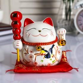 """Копилка керамика """"Кот манэки-нэко на коврике с колокольчиками"""" 12,5х13х10,5 см"""