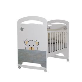 Кровать детская Birba колесо-качалка (белый) (1200х600)