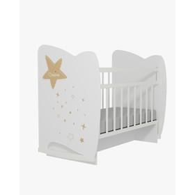 Кровать детская Estella  колесо-качалка с маятником (белый) (1200х600)