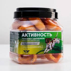 """Лакомство для собак Green Qzin """"Активность"""" куриное мясо на колечках из сурими, туба, 750 г"""