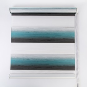 Штора рулонная «День-ночь. Волна», 60×180 см (с учётом креплений 3,5 см), цвет бирюзовый