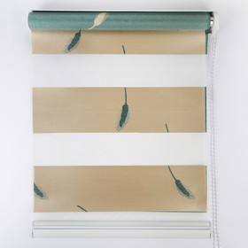 Штора рулонная «День-ночь. Колосок», 50×180 см (с учётом креплений 3,5 см), цвет бирюзовый