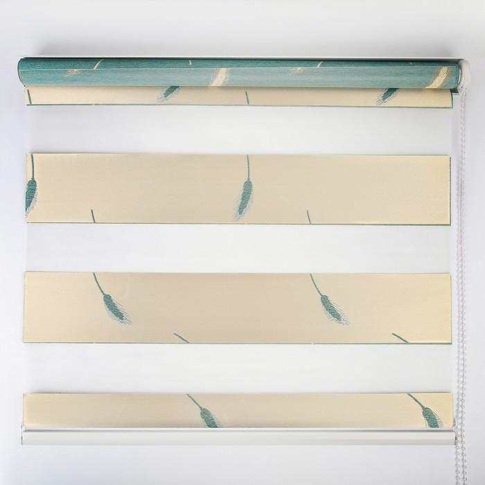 Штора рулонная «День-ночь. Колосок», 80×180 см (с учётом креплений 3,5 см), цвет бирюзовый - фото 798487990