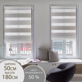 Штора рулонная «День-ночь. Паутинка», 50×180 см (с учётом креплений 3,5 см), цвет серый