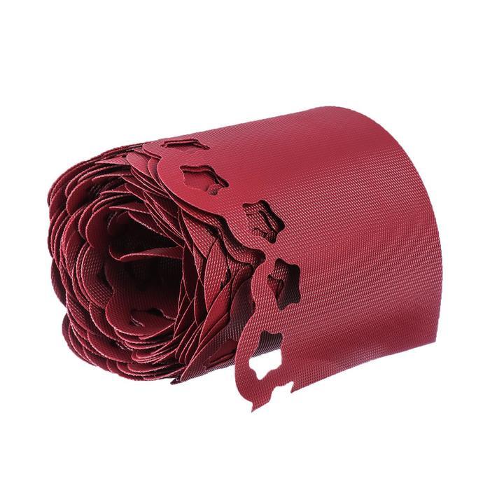 Лента бордюрная, 0.2 × 9 м, толщина 1.2 мм, пластиковая, фигурная, красная
