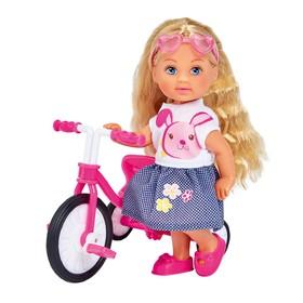 Кукла «Еви» 12 см, на трёхколесном велосипеде