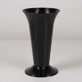 Ваза для цветов под срезку, 12,9×21,7 см, цвет чёрный Ош