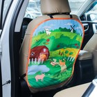 """The cover on the car seat labels """"Village"""""""