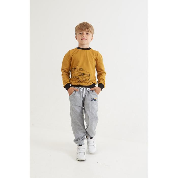 "Брюки для мальчика KAFTAN ""Fast speed"" р.34 (122-128 см), серый - фото 105703356"