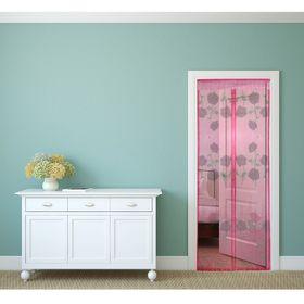 Сетка антимоскитная на магнитной ленте 80x210 см 'Цветы', цвет розовый Ош