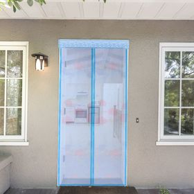 Сетка антимоскитная на магнитной ленте 80x210 см 'Цветы', цвет голубой Ош