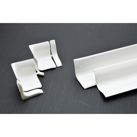 "Комплект бордюра на ванну ""Душ Сити"", угол, заглушка, плинтус 2 м, глянцевый, белый, по 2 шт   48865"