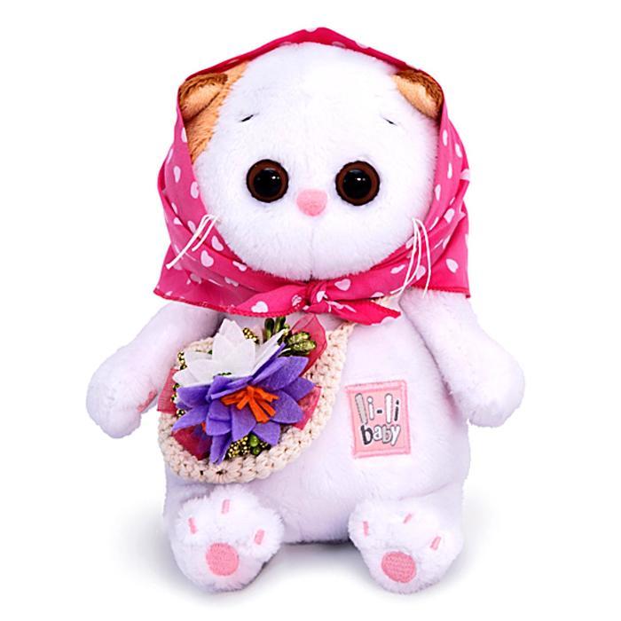 Мягкая игрушка Ли-Ли BABY в косыночке и с корзинкой 20 см - фото 4470978
