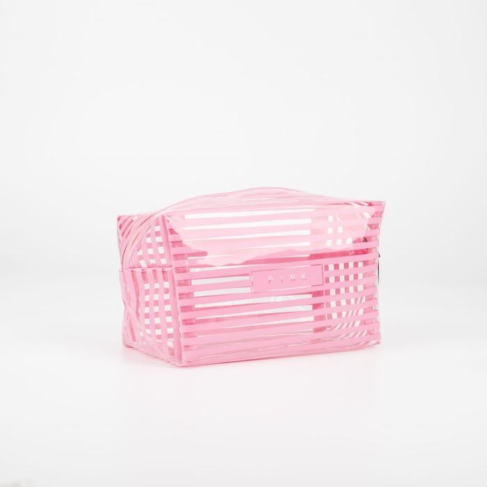 Косметичка ПВХ, глянец, отдел на молнии, цвет розовый - фото 798489925