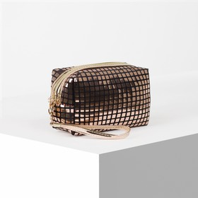The cosmetic bag is a road Chic 17*7*10, otd zipper with handle, gold