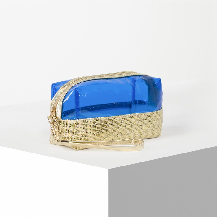 Косметичка ПВХ, отдел на молнии, с ручкой, цвет золото/синий - фото 798489953