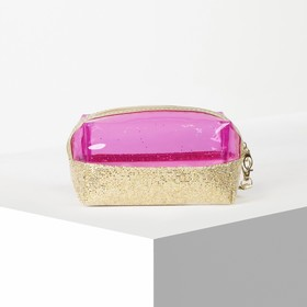 Косметичка ПВХ, отдел на молнии, с ручкой, цвет золото/розовый - фото 1770277